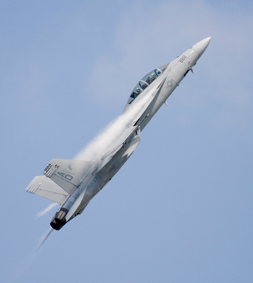F/A-18 Hornet in a high-G pull up and climb.